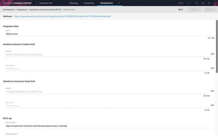 The new integration is created. You can edit the fields as normal