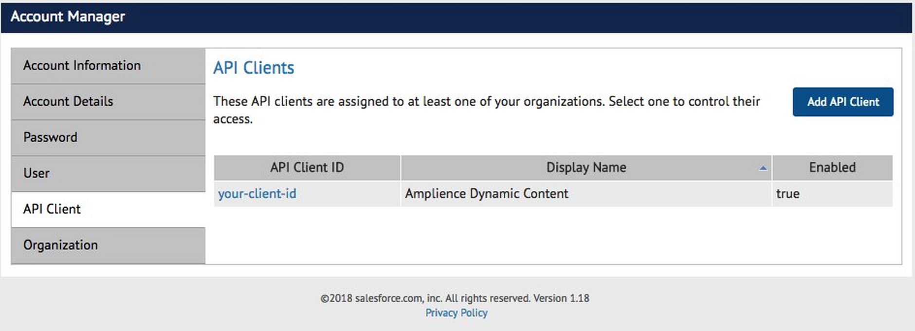 The new API Client ID is shown in the list