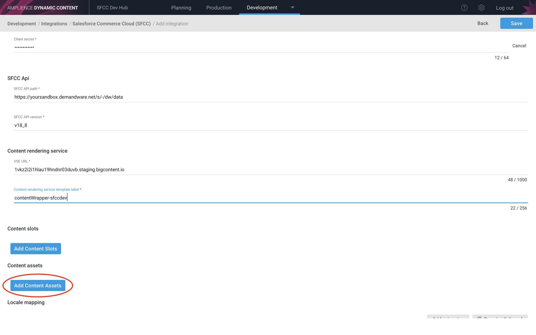Adding a content asset integration