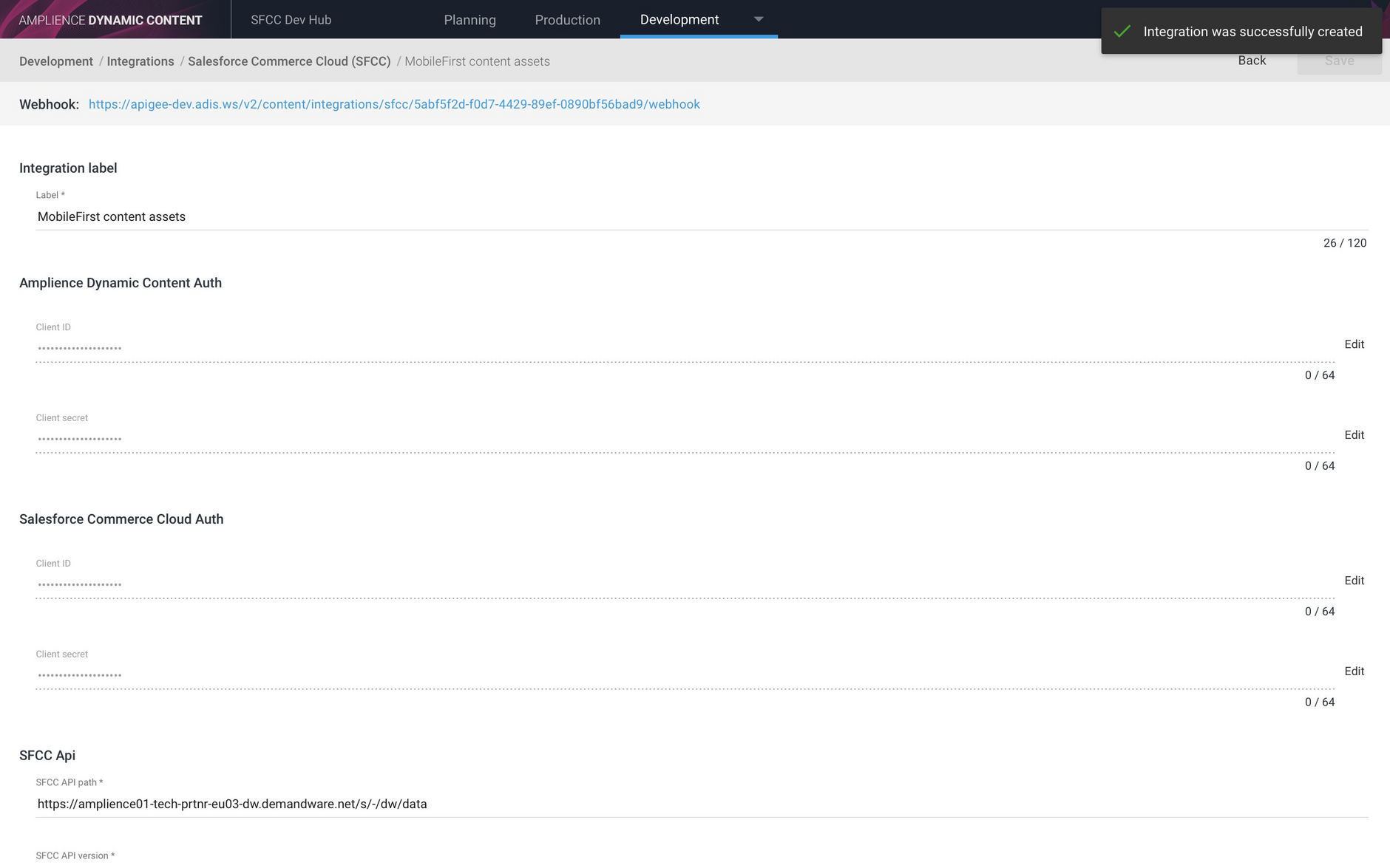 The content asset has been successfully created and its webhook is displayed