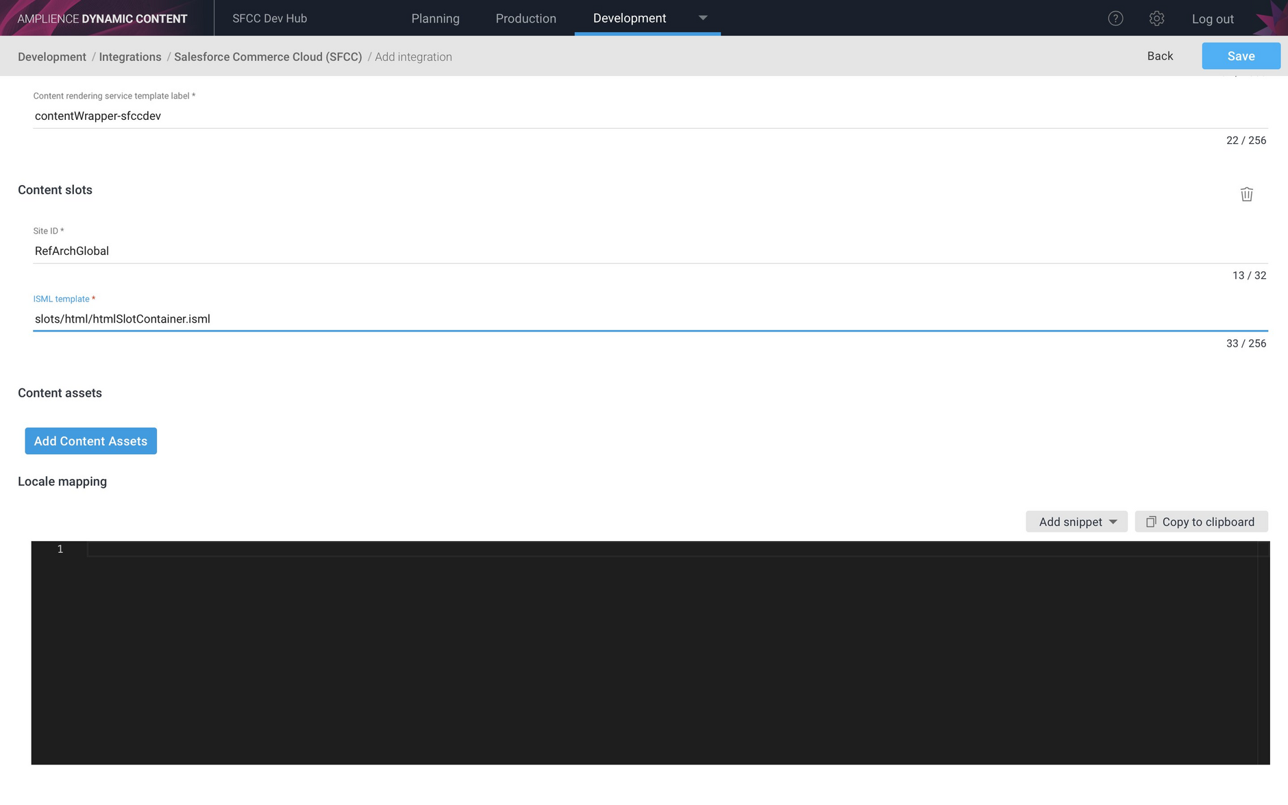 Setting up the siteid and ISML template for a content slot integration