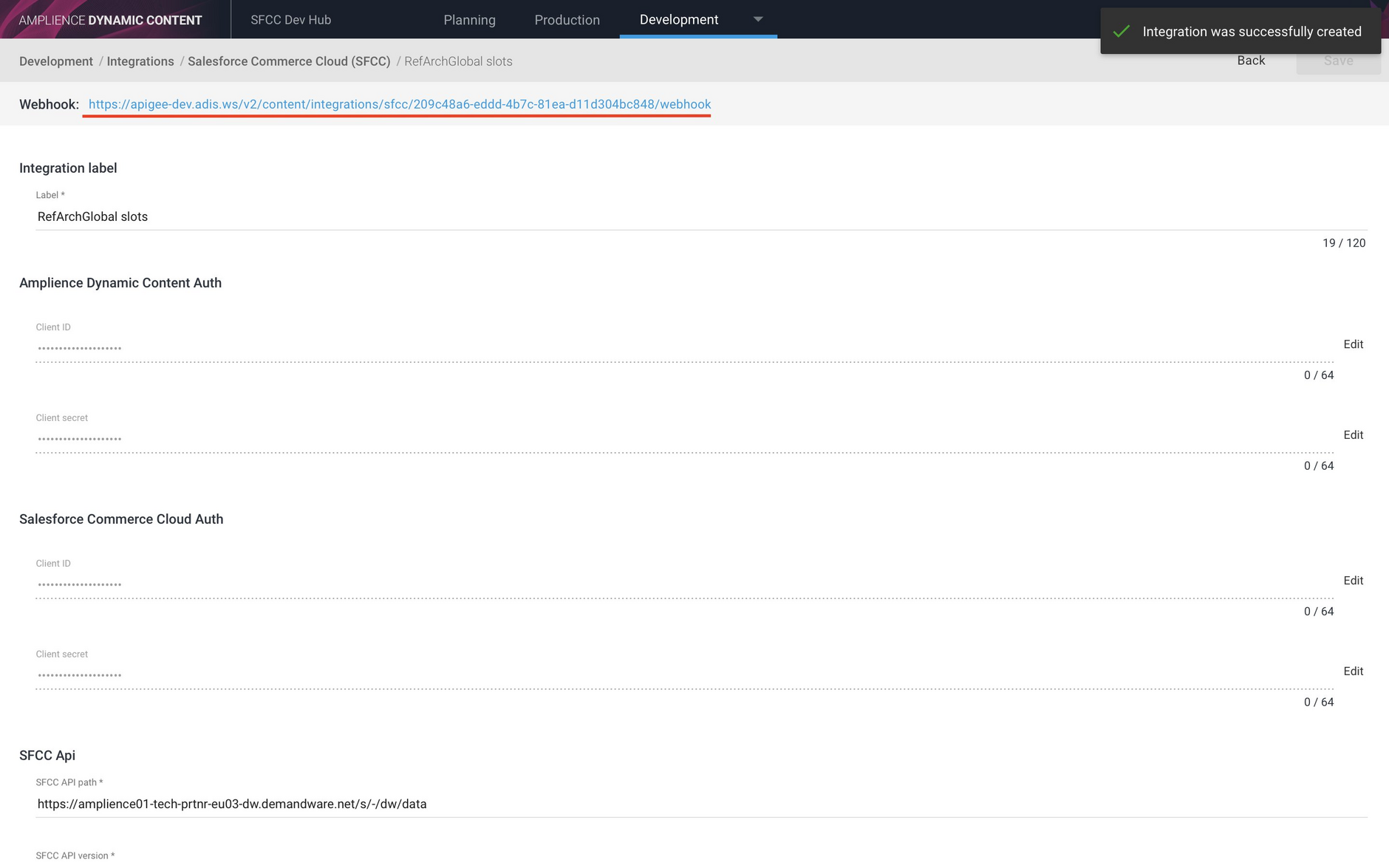 When an integration is created its webhook is shown