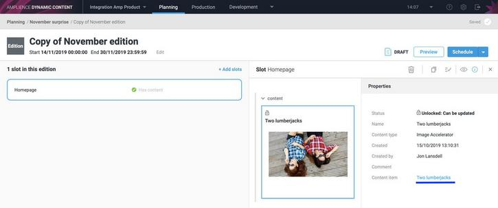 Click the link in the properties pane to open the content in the production view