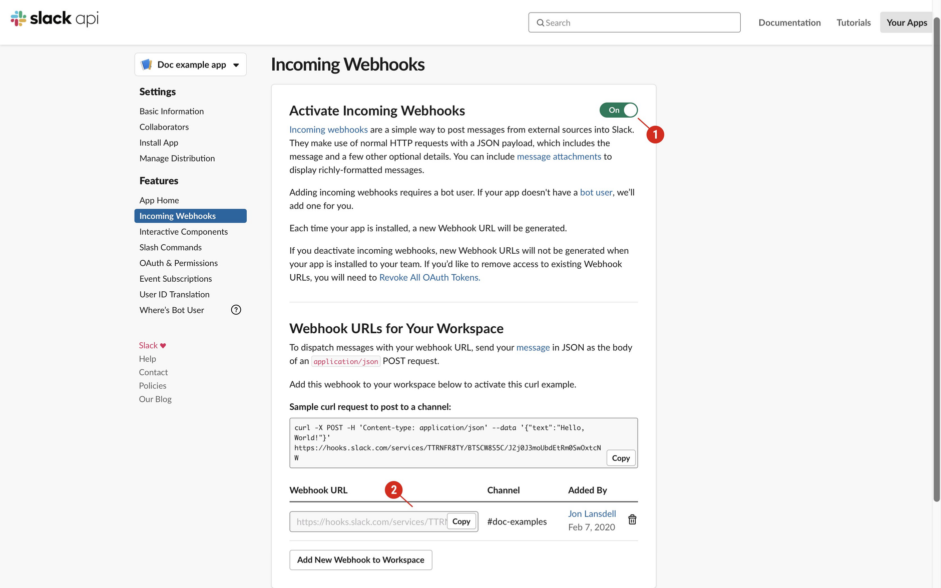 Set up an app in Slack to accept incoming webhooks