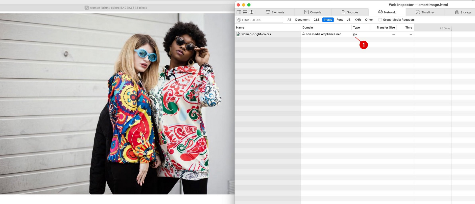 When opened in Apple Safari, the image is returned in jp2 format.