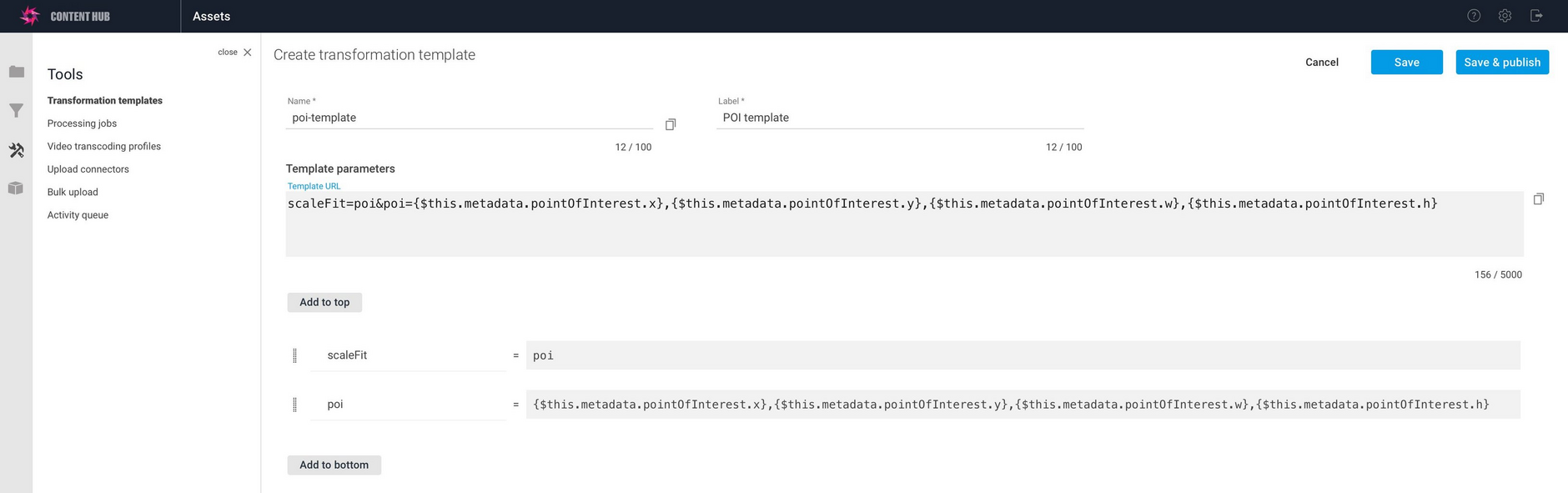 A more complex example using POI metadata added to a template.
