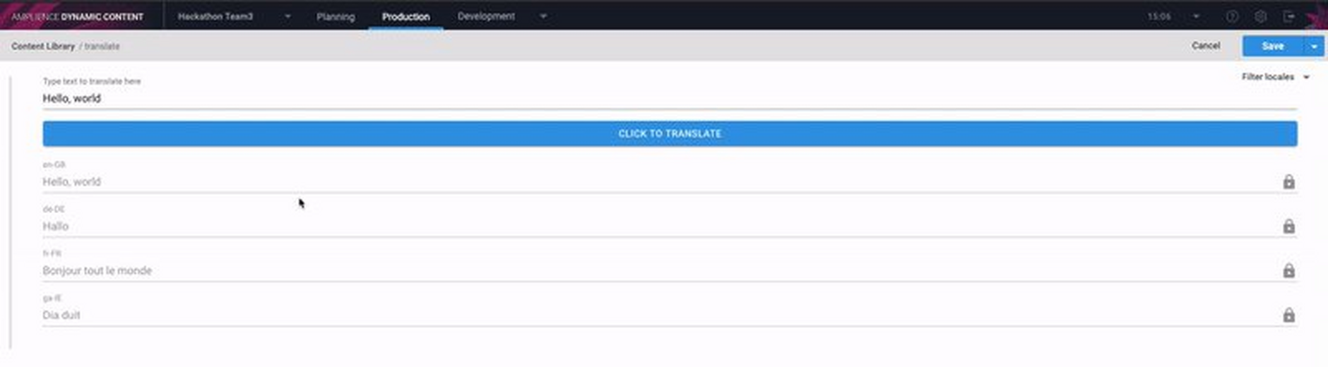 The translation extension demonstrates how to use an external translation service to translate field level localized strings