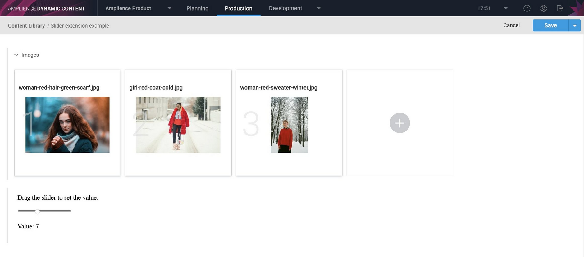 A content item containing with a field implemented by the slider extension