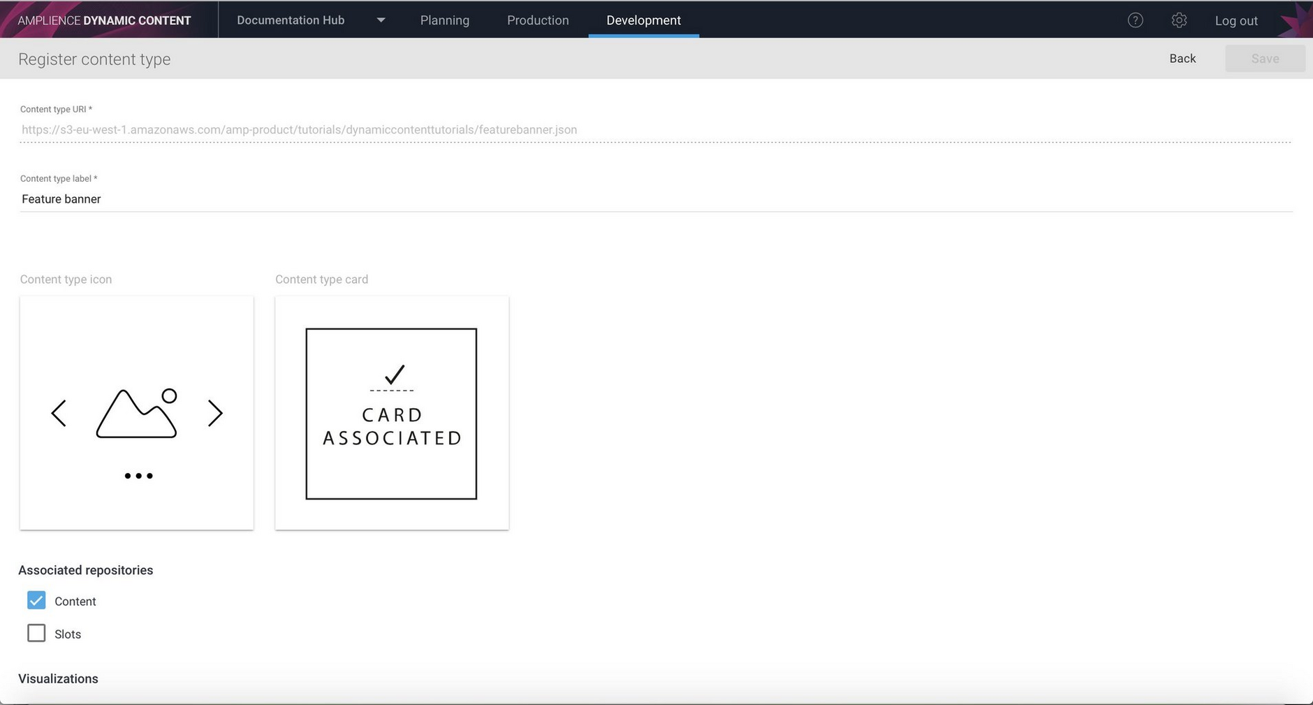 The content type already has an icon, card and visualization
