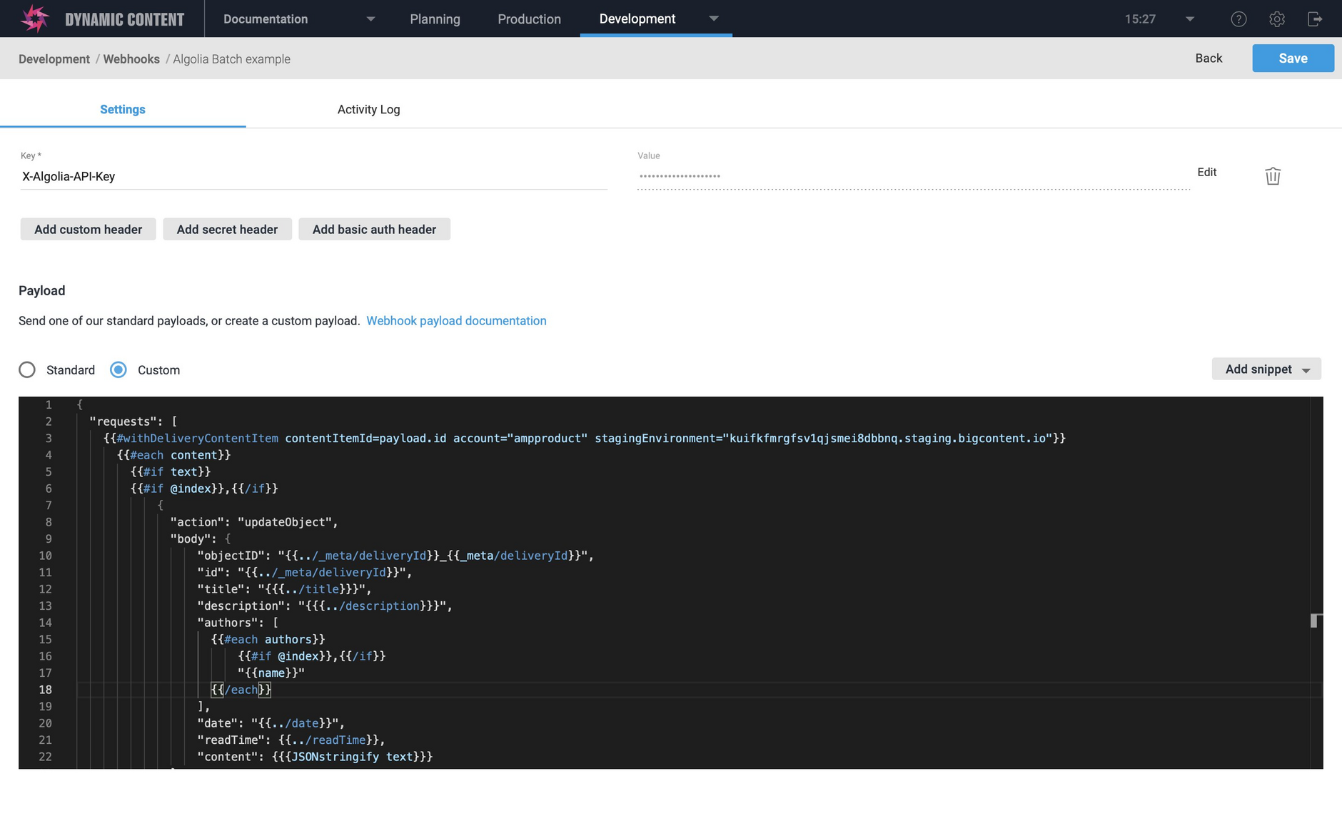 The custom payload to create Algolia records from all blog post linked content