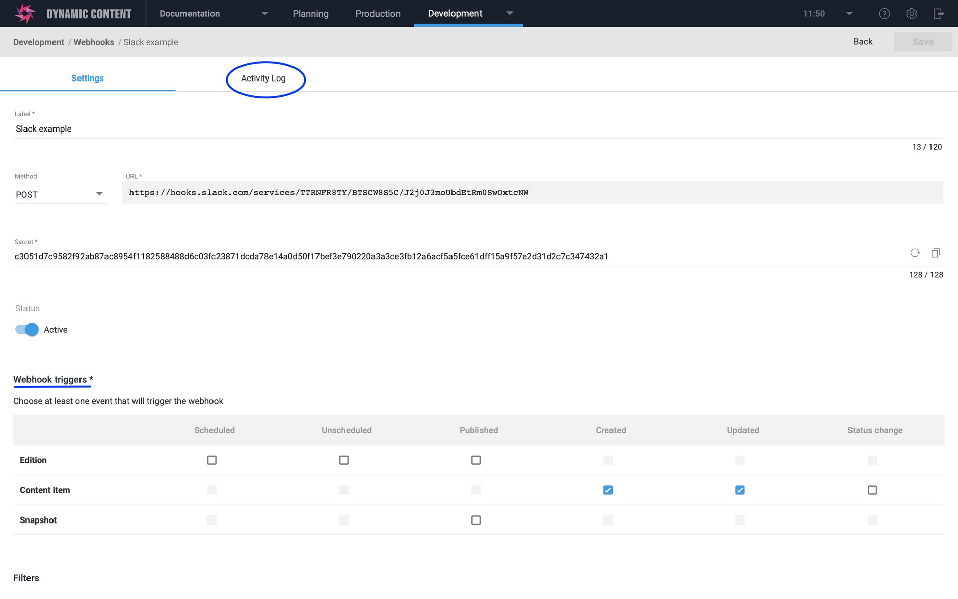 The webhook window now includes a separate activity log tab and a reorganized triggers section
