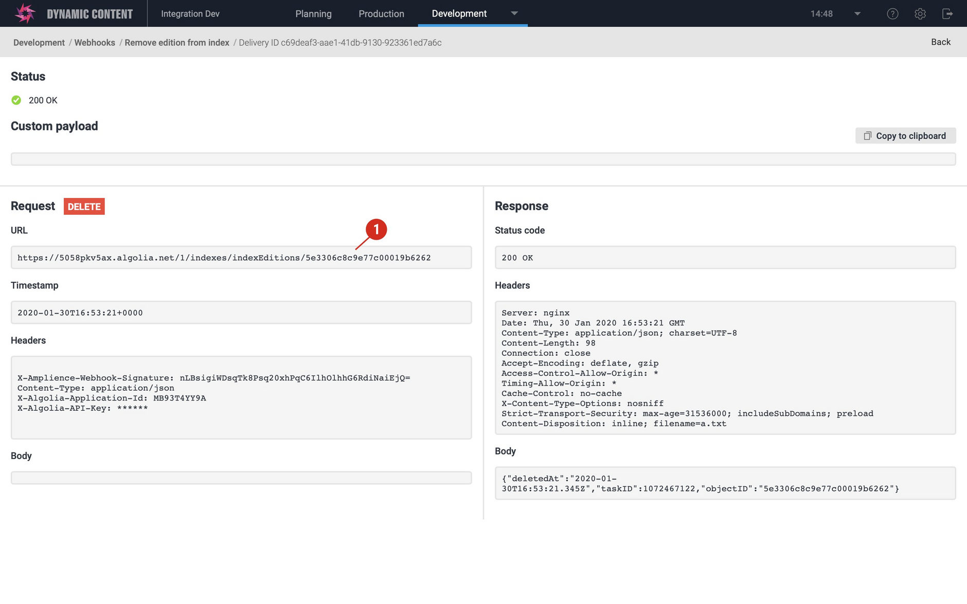 Webhook details for a webhook request using the DELETE method