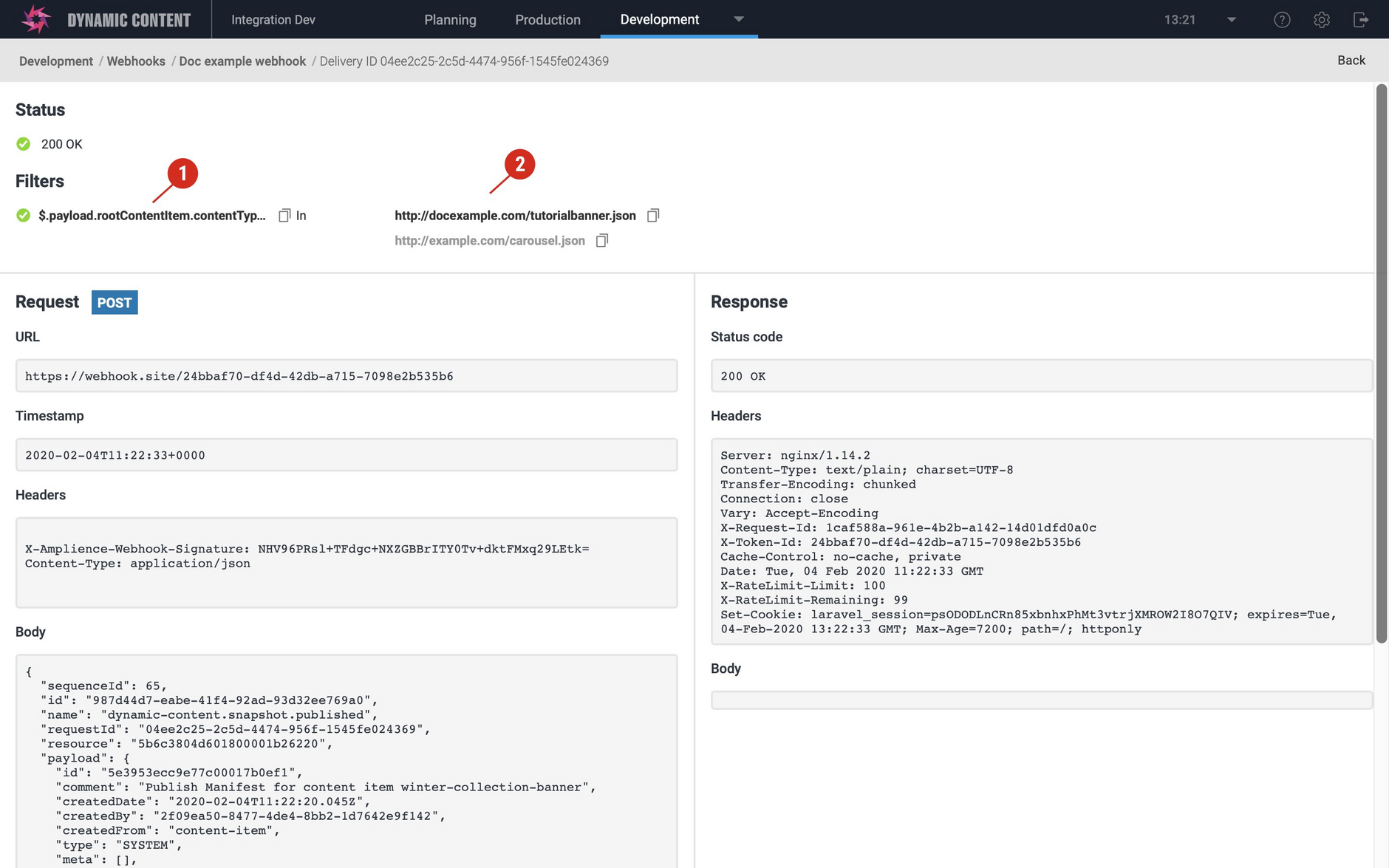 Viewing the webhook details including the filter that matched.