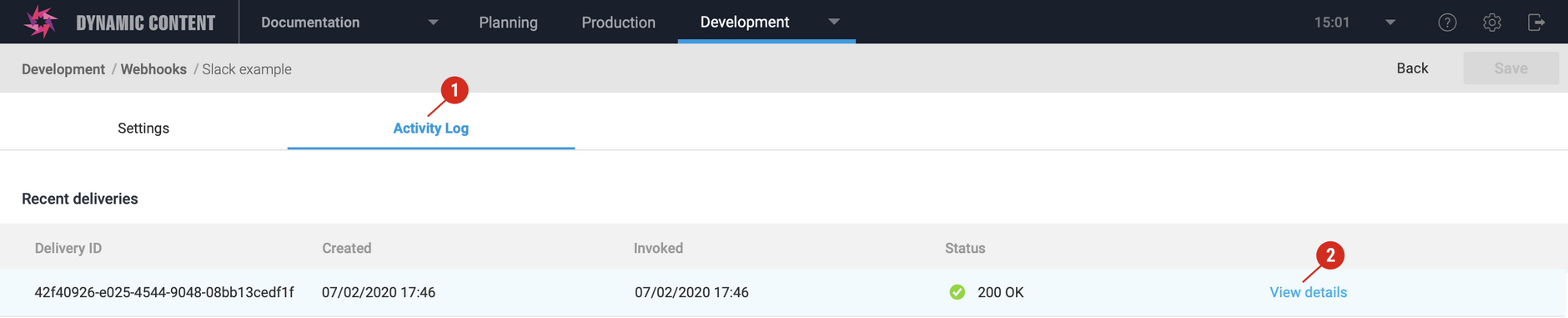 The Custom payload section shows the handlebars that was used to generate the payload for this invocation of the webhook request