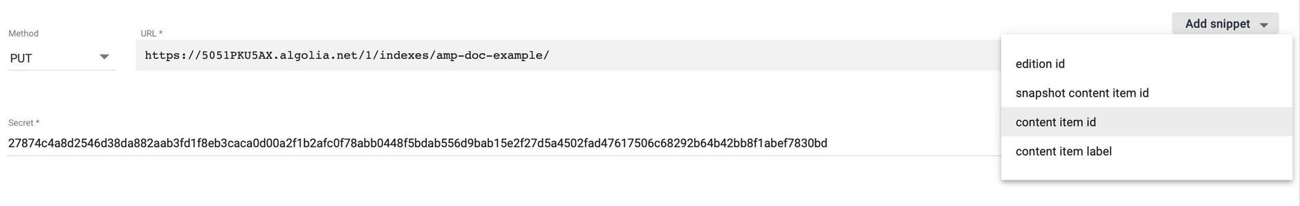 Use the snippets menu to add payload.id to the webhook URL