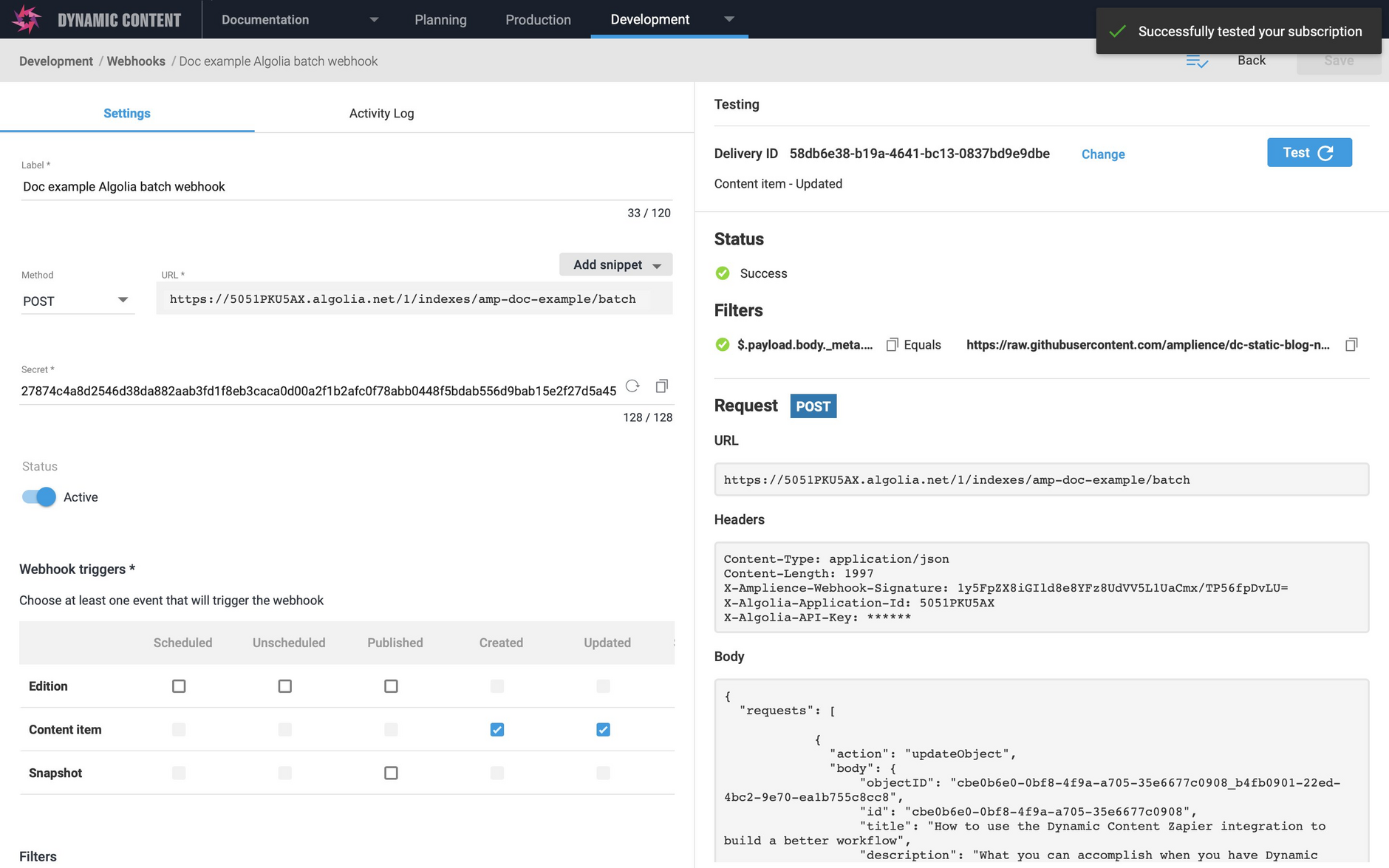 The webhook details including the custom payload to request that the Algolia API creates or updates multiple records