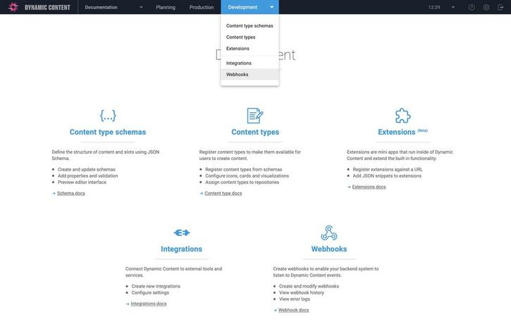 The webhook management UI is accessed from the development menu