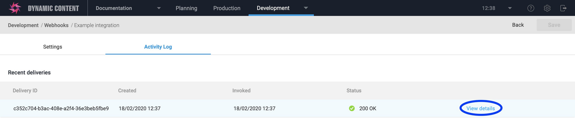 Click view details to view the webhook request and response