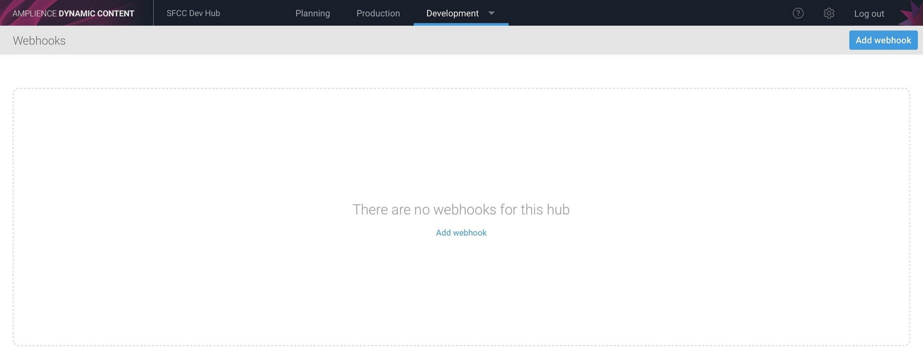Click the Add webhook button to add a webhook