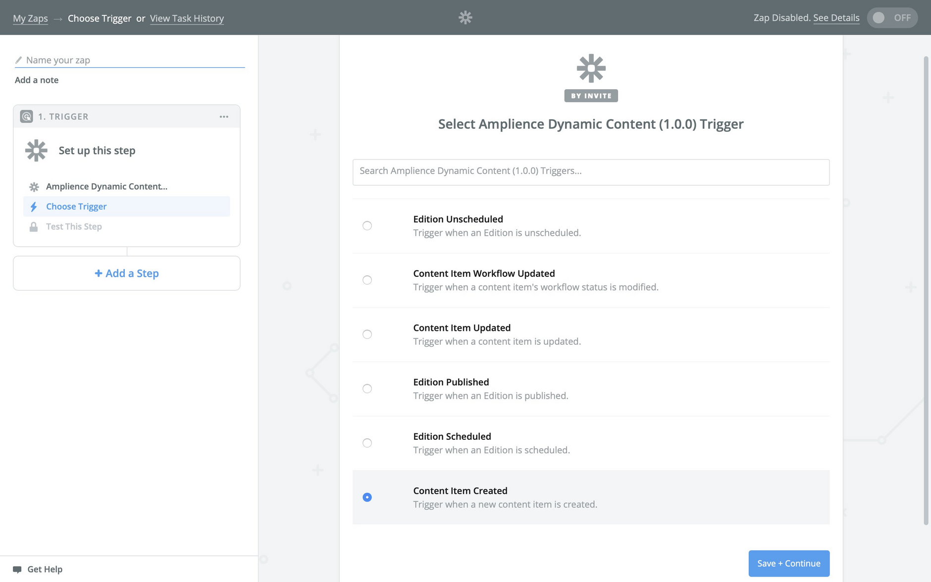 Selecting Dynamic Content triggers