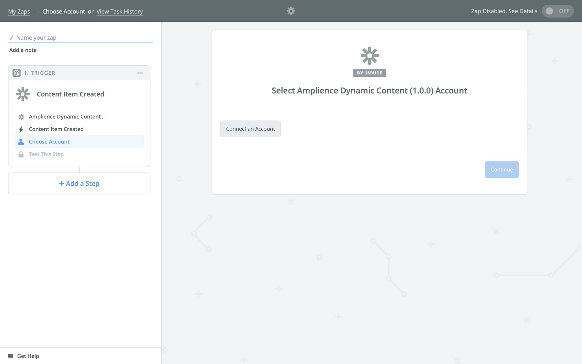 Click Connect account to connect to Dynamic Content