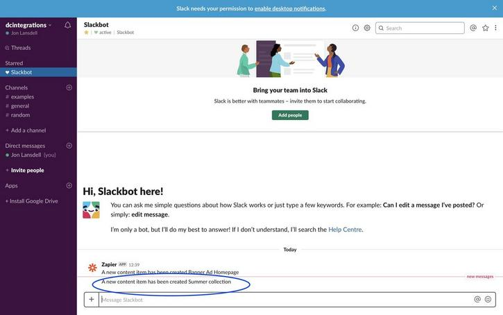 The Zap sends a message to Slack containing the content item name