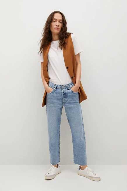 Mango - open blue Cropped high waisted straight jeans, Women