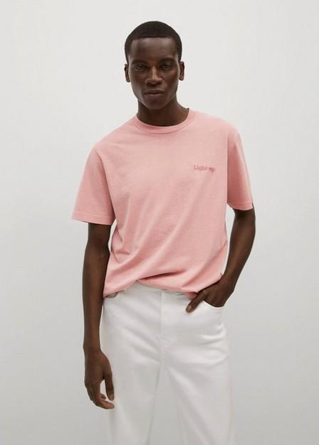 Mango - Lt-Pastel Pink Embroidered Cotton Message T-Shirt, Men