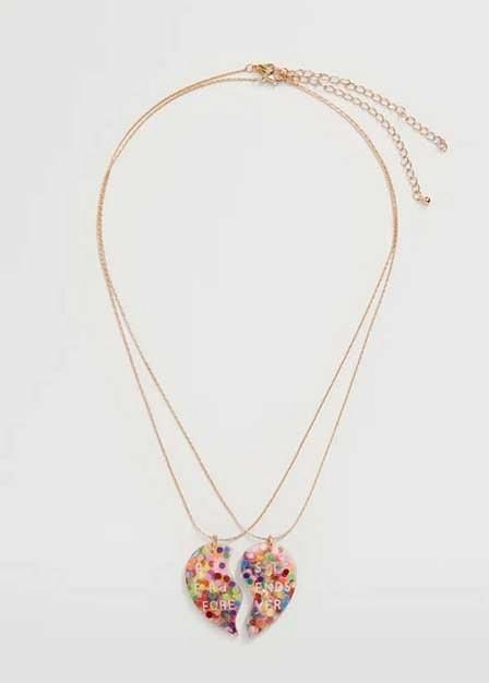 Mango - Gold Best Friends Necklace 2 Set, Kids Girl