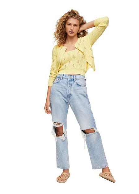 Mango - Yellow Flowers Knit Cardigan, Women