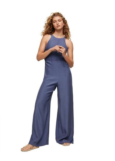 Mango - Medium Blue Long Lyocell Jumpsuit, Women