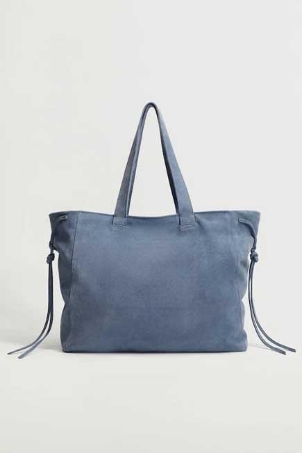 Mango - lt-pastel blue Leather shopper bag