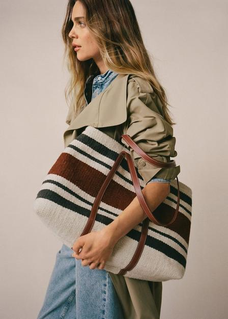 Mango - light beige Textured shopper bag, Women