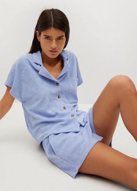 Mango - lt-pastel blue Stretch cotton shorts, Women