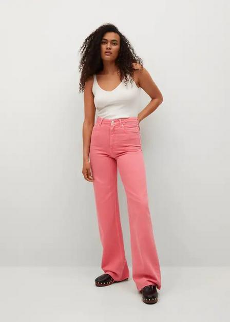 Mango - bright pink High waist straight jeans, Women