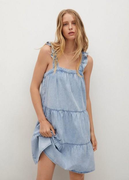 Mango - open blue Short ruffled dress, Women