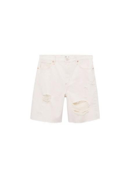 Mango - light beige Denim bermuda shorts with frayed hem, Women