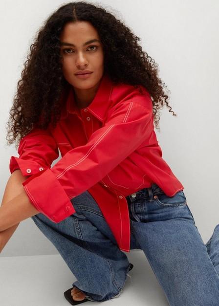 Mango - red 100% cotton shirt, Women