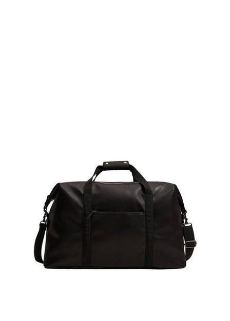 Mango - Black Leather-Effect Travel Bag, Men