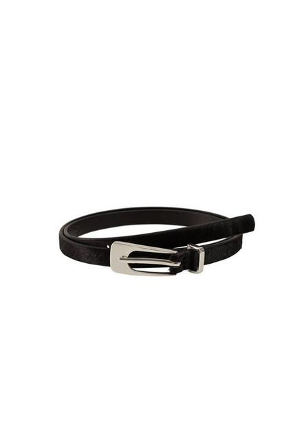 Mango - Black Leather Fur Belt, Women