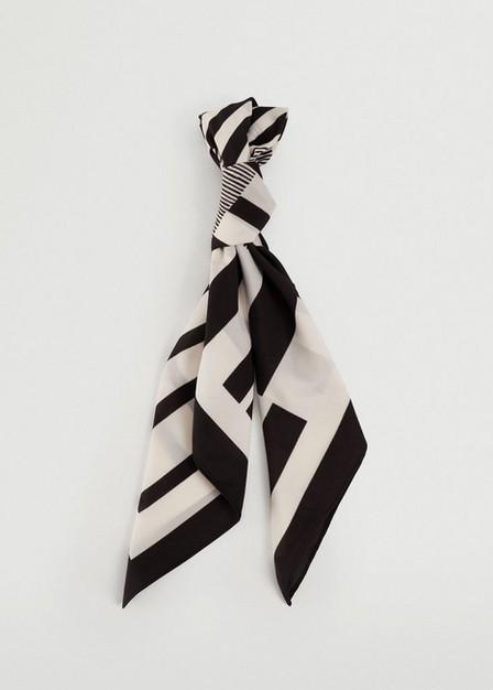 Mango - black Geometric printed foulard, Women