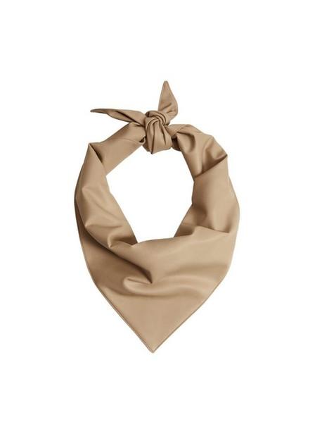 Mango - lt pastel brown Faux leather scarf, Women