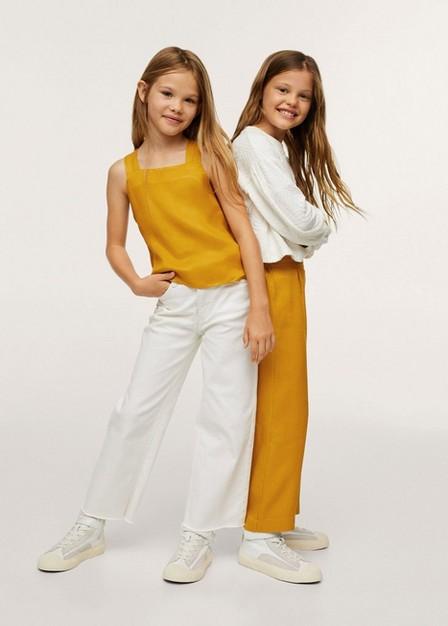 Mango - Medium Yellow Crisscross Strap Top, Kids Girl