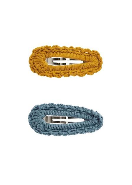 Mango - medium blue 2 Crochet hairclips pack, Kids Girl