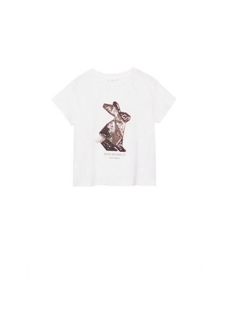 Mango - Natural White Sequined Cotton T-Shirt, Kids Girl