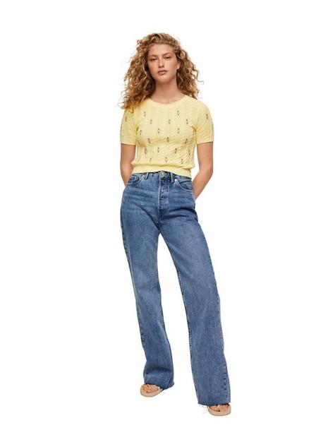 Mango - Yellow Flowers Knit Sweater, Women