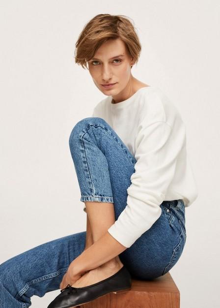 Mango - open blue Mom 100% cotton jeans, Women