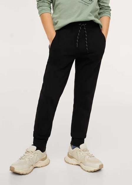 Mango - Black Organic Cotton Jogger Trousers, Kids Boy