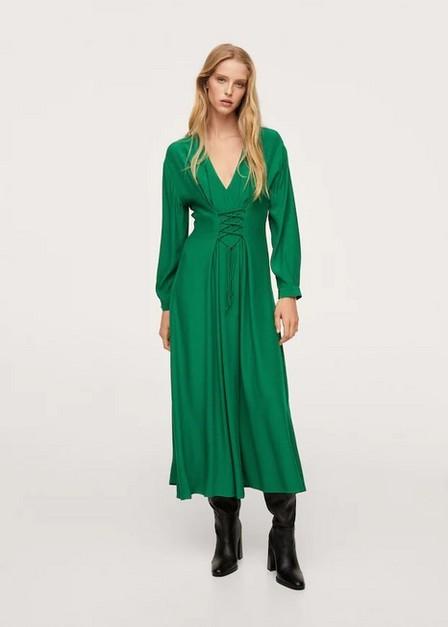 Mango - Green Corset Design Dress, Women