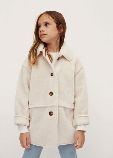 Mango - Natural White Faux Shearling Jacket, Kids Girl